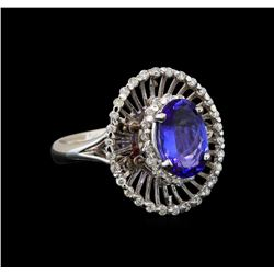 14KT White Gold 1.80 ctw Tanzanite and Diamond Ring