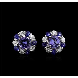 2.30 ctw Multi Gemstone and Diamond Earrings - 14KT White Gold