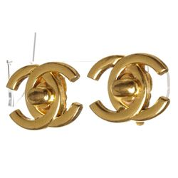 Chanel Gold Turn Lock CC Logo Clip On Earrings