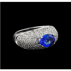14KT White Gold 1.85 ctw Tanzanite and Diamond Ring