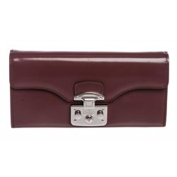 Gucci Purple Leather Padlock Continental Wallet