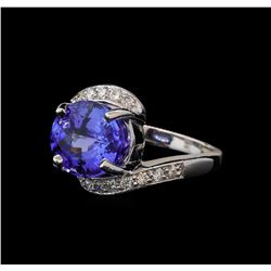 6.82 ctw Tanzanite and Diamond Ring - 14KT White Gold