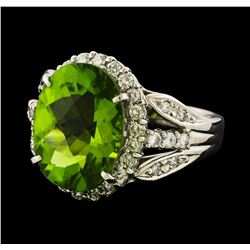 6.64 ctw Peridot and Diamond Ring - Platinum