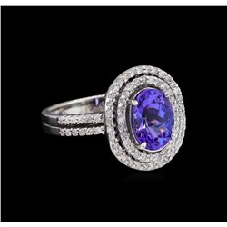 2.11 ctw Tanzanite and Diamond Ring - 14KT White Gold