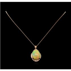 17.32 ctw Opal and Diamond Pendant With Chain - 14KT Rose Gold