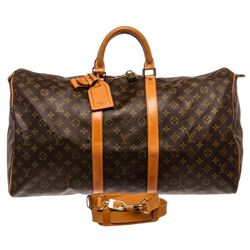 Louis Vuitton Monogram Canvas Leather Keepall 55 cm Bandouliere Duffle Bag Lugga