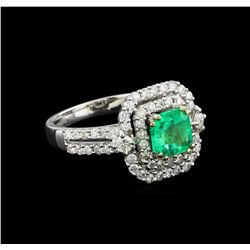 14KT White Gold 1.24 ctw Emerald and Diamond Ring