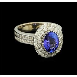 2.39 ctw Tanzanite and Diamond Ring - 14KT White Gold