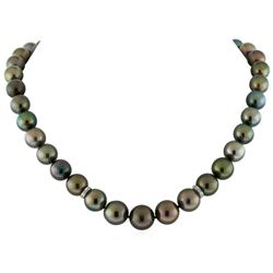 Tahitian Cultured Pearl Necklace With Diamond Clasp