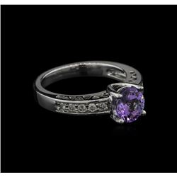 1.39 ctw Tanzanite and Diamond Ring - 14KT White Gold