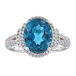 4.58 ctw Topaz and Diamond Ring - 14KT White Gold