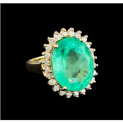 10.45 ctw Emerald and Diamond Ring - 14KT Yellow Gold