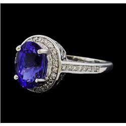 2.94 ctw Tanzanite and Diamond Ring - 14KT White Gold