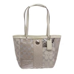 Coach Silver White Canvas Monogram Mini Tote Bag