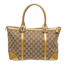 Gucci Beige Brown Canvas Gold Leather Monogram Shoulder Bag
