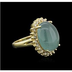 14KT Yellow Gold 13.35 ctw Aquamarine and Diamond Ring
