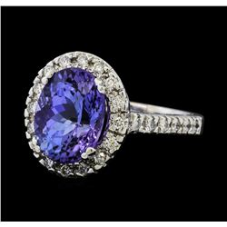 5.77 ctw Tanzanite and Diamond Ring - 14KT White Gold