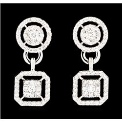 1.52 ctw Diamond Earrings - 14KT White Gold