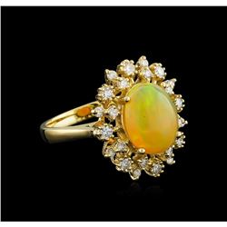 2.70 ctw Opal and Diamond Ring - 14KT Yellow Gold