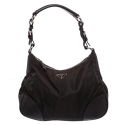 Prada Black Nylon Leather Trim Shoulder Bag