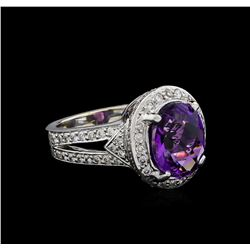 4.77 ctw Amethyst and Diamond Ring - 14KT White Gold