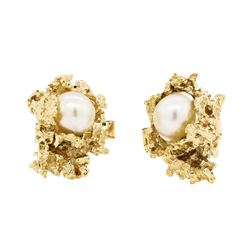 Baroque Pearl Cufflinks - 14KT Yellow Gold