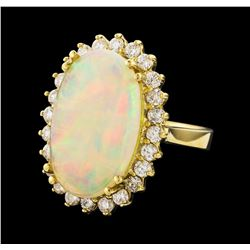 5.10 ctw Opal and Diamond Ring - 14KT Yellow Gold