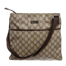 Gucci Brown Coated Canvas Leather Crossbody Bag