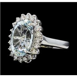 5.95 ctw Aquamarine and Diamond Ring - 14KT White Gold