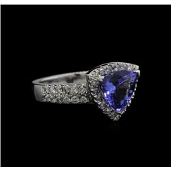 1.96 ctw Tanzanite and Diamond Ring - 14KT White Gold