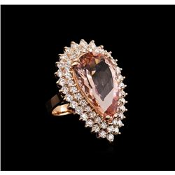 12.50 ctw Morganite and Diamond Ring - 14KT Rose Gold