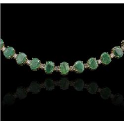 14KT Yellow Gold 37.26 ctw Emerald and Diamond Necklace