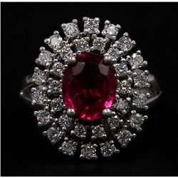 1.67 ctw Rubellite and Diamond Ring - 14KT White Gold