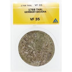 1768 Thal Germany Bavaria Coin ANACS VF35