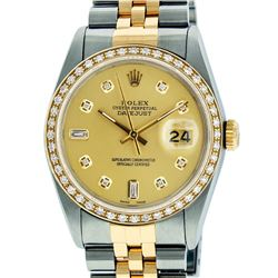 Rolex Mens 2T SS/YG Champagne Diamond Datejust Wristwatch