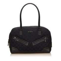 Gucci Black Fabric Canvas Leather Jacquard Shoulder Bag