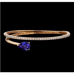 14KT Rose Gold 3.18 ctw Tanzanite and Diamond Bangle Bracelet