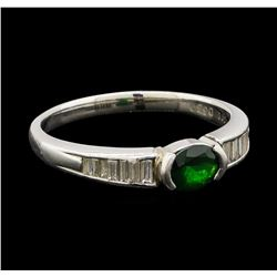 0.66 ctw Green Garnet and Diamond Ring - Platinum
