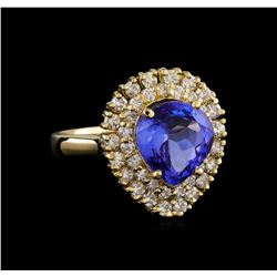 3.62 ctw Tanzanite and Diamond Ring - 14KT Yellow Gold