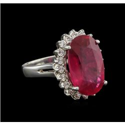 10.20 ctw Ruby and Diamond Ring - 14KT White Gold