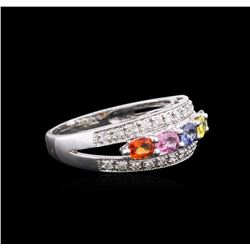 14KT White Gold 1.21 ctw Multicolor Sapphire and Diamond Ring