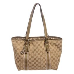 Gucci Brown Beige Monogram Canvas Leather Small Jolicoeur Tote Bag