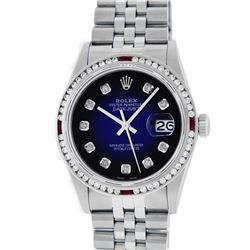 Rolex Mens Stainless Steel Blue Vignette Diamond & Ruby Datejust Wristwatch