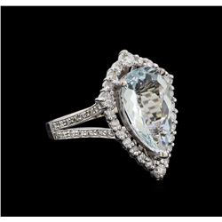 4.40 ctw Aquamarine and Diamond Ring - 14KT White Gold