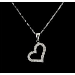 0.31 ctw Diamond Pendant With Chain - 14KT White Gold