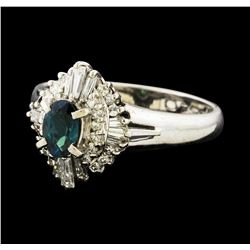 0.47 ctw Alexandrite and Diamond Ring - Platinum