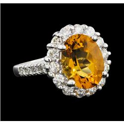 3.00 ctw Citrine and Diamond Ring - 14KT White Gold