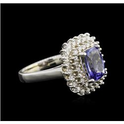 2.05 ctw Tanzanite and Diamond Ring - 14KT White Gold