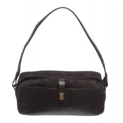 Salvatore Ferragamo Black Canvas Shoulder Handbag