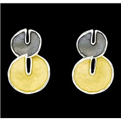 Double Circle Dangle Earrings - Rhodium Plated